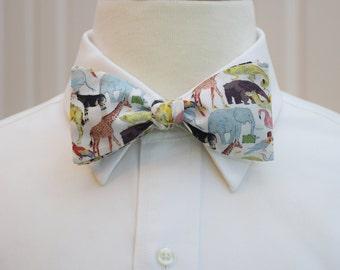 Men's Bow Tie in zoo print, animals bow tie, zoo wedding bow tie, animal lover gift, veterinarian gift, Liberty of London wildlife bow tie