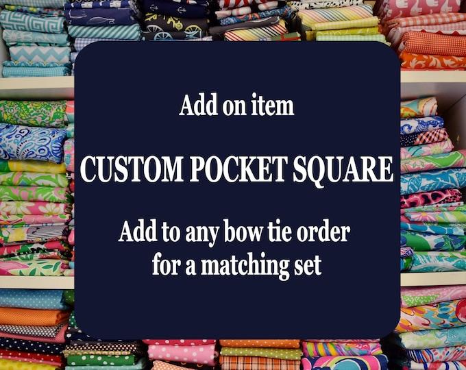 Custom pocket square, pocket handkerchief, custom pocket square, matching bow tie and pocket square set, men's gift set, Father's Day gift,