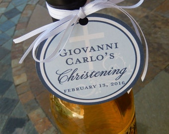 """3"""" Custom Christening or Baptism Favor Tags - For Wine Bottles - Mason Jar Gifts - Favor Boxes - Party Favors - (25) 3"""" personalized tags"""