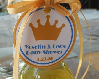 """Baby Shower Thank You 2"""" Custom Favor Tags with Crown or Tiara Graphic - for Mini Wine or Champage Bottles - (60) Personalized Gift Tags"""