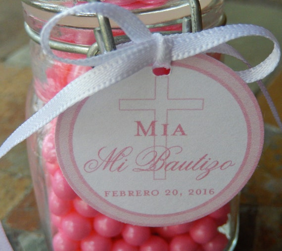 """Mi Bautizo Spanish Baptism Custom Favor Tags - For Cake Pops - Lollipops - Cookies - Catholic Party Favors - (60) 1.5"""" Printed Gift Tags"""