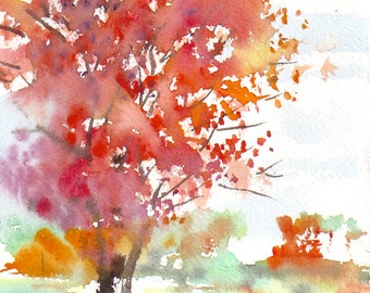 New England Landscape Autumn Series 2015 No.1,  limited edition of 50 fine art giclee prints from my original watercolor