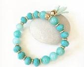 Aqua Blue Beaded Tassel Bracelet. Jade Gemstones Stretch Turqiouse Gold Beads. Mint Suede Stacking Bracelet