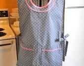 Womens Smock Cobbler in Gray Polka Dots