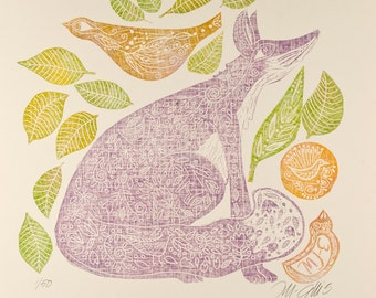 sale - linocut, Fox, birds, leaves, nursery, purple, yellow, green, poetic, girls room, nursery decor , childrens art, art for children