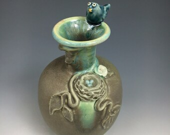 Birds Nest and Bird Handmade Porcelain Vase Matte Green