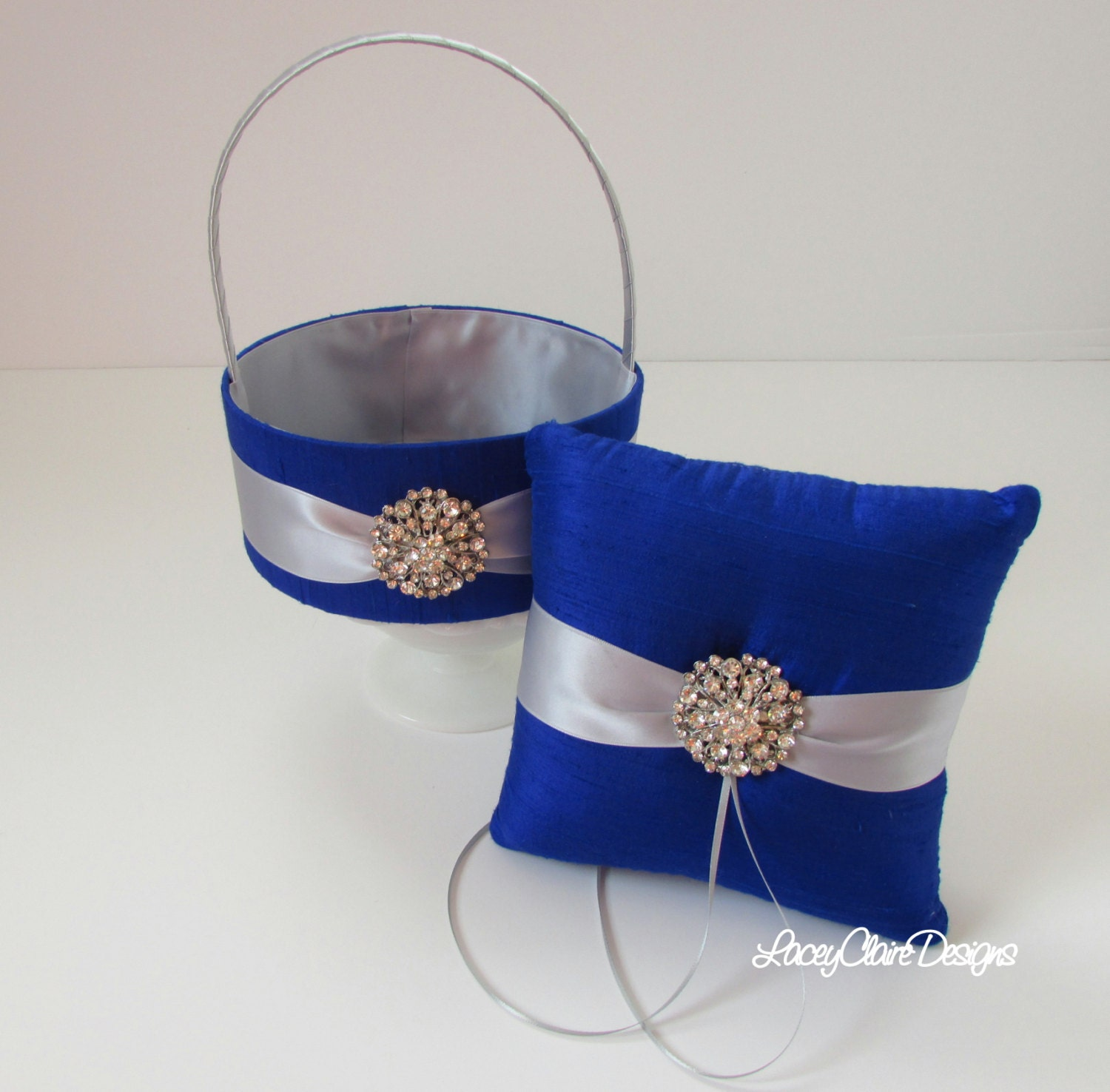 Flower Girl Baskets And Ring Pillows : Ring bearer pillow and flower girl basket set custom made