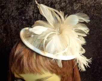 Bridal Fascinator Hat Ivory Feathers, Rhinestones, Pearls with Headband