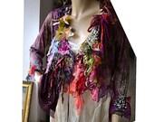 RESERVED Unique Art To Wear Soft  Jacket With Silks Silk Velvet  Feminine SHE LOVEs RED Fairy Antoinette Boho Hippie Tattered