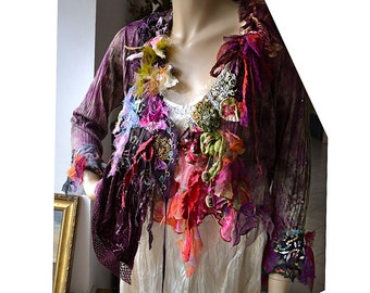 Unique Art To Wear Soft Cotton Jacket With Silks Silk Velvet Romantic Feminine SHE LOVES RED Fairy Antoinette Boho Hippie Tattered