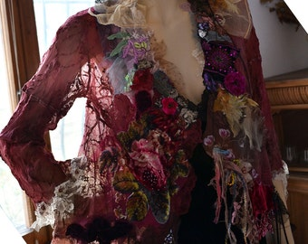 RESERVED Beautiful Unique Art To Wear Feminine Lacy Jacket ROSES Fairy Boho Romantic Tattered Gipsy