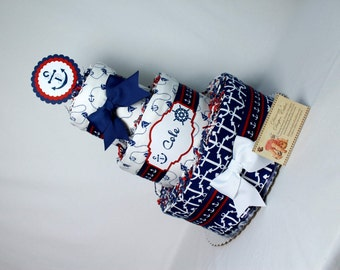 Baby Diaper Cakes Nautical Anchors Shower Gift or Centerpiece