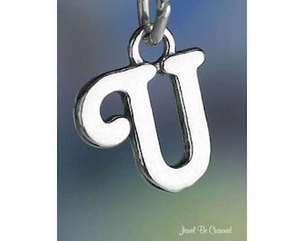 Sterling Silver Script Letter U Charm Initial Cursive Shiny Solid .925