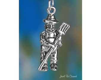 Sterling Silver Farmer Charm Old MacDonald Had a Farm Song Solid .925