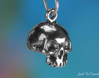 Sterling Silver Human Skull Charm Bones Death Halloween 3D Solid .925