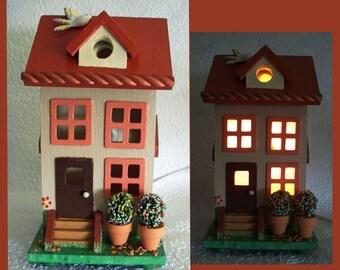 Birdhouse Nightlight Lamp Duplex Townhouse