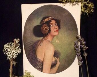 Postcard Salome by Pausinger  - illustration - Woman  with Headdress  - Art Postcard - Belle Epoque