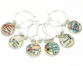 CUSTOM Vintage Map Wine Glass Charms. Set of Six. You Select Cities Worldwide. World Wine Charms Destination Wine Charms. Travel Wine Charms