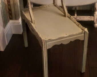 Vintage Two-Tiered Side Table/Distressed Side Table/Painted Distressed End Table