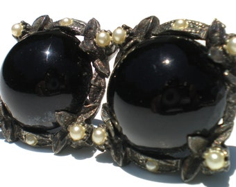 Black Glass Cabochon Screw Earrings with Ornate Pot Metal & Faux White Pearls - Victorian Revival Vintage Jewelry