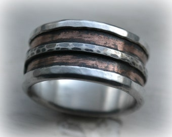 mens wedding band, rustic silver and 14K rose gold wedding band, handmade artisan designed wide band ring, manly ring, customized ring
