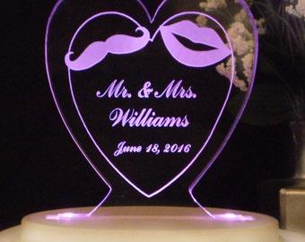 Mr. & Mrs. Wedding Cake Topper - Moustache and Lips - Acrylic - Personalized - Light Option
