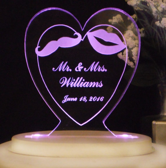 Mr. & Mrs. Wedding Cake Topper - Moustache and Lips - Acrylic - Personalized - Light Option
