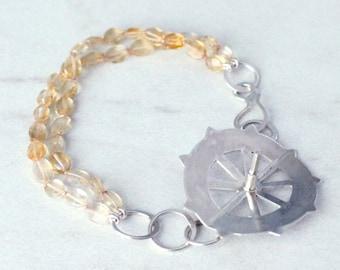 Citrine and Sterling Silver Cog Bracelet