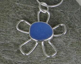 Cornflower Blue Sea Glass Flower Bezel Pendant Necklace