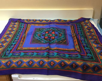Vintage Large Square Scarf Colorful Blue Red Purple Floral Cotton Scarf Teal