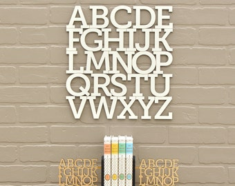 Wood Alphabet Letter White Modern Typography Nursery Wall Decor