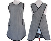 Women's Apron, No Ties Apron, Crossback Apron - Houndstooth Twill - Made to Order- sizes L, XL, 2X, 3X, 4X