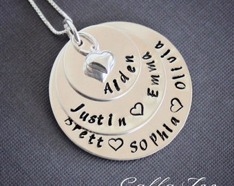 Mothers necklace, Grandmothers necklace, stacked necklace, sterling silver, personalized, mommy necklace, grandma necklace, mom necklace