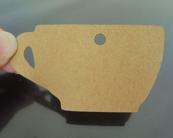 Paper Tags 6cm x 3.2cm - 50pcs Kraft Cothing Tags Cup Tag Price Tags Hang Tags Gift Tags Brown Tag Plain Tags with Hole