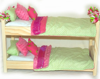 Double Doll Bunk Bed OOAK  - Sparkly Pink & Green! American Made Girl Doll Bunk Bed - Fits 18 inch dolls and AG dolls