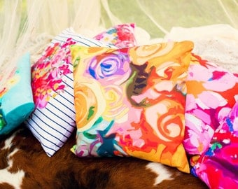 Vibrant Golden Yellow, Orange, Violet, Red, Teal, Pink Abstracted Floral Print Pillow Cover- Ready to Ship, 18 inch size.