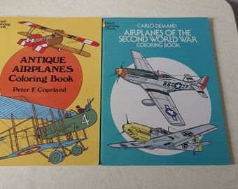Two Airplane Coloring Books, One Antique Planes and the other World War ll Planes, 1975 and 1981