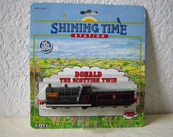 Shining Time Station, Donald The Scottish Twin Engine and Coal Car, ertl, 1992 in original package. Thomas the Tank Engine friend