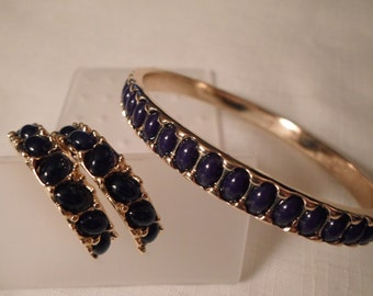 KENNETH JAY LANE / Jewelry Set / Bangle / Bracelet / Pierced Earrings / Hoops / Blue Lucite / Gold / Stunning Couture Designer / Signed Lot