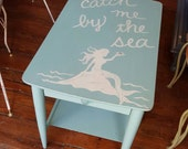 CUSTOM for CRISTIN Pair Mermaid Nautical side tables Blithe blue Cottage beach Distressed Salvaged Refinished Whagn