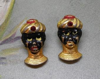 2 1940's Figural Blackamoor Miniature Metal Buttons