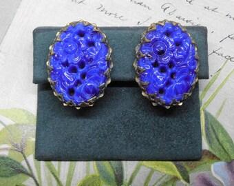 Molded Cobalt Blue Asian Floral Clip On Earrings