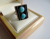 Navajo Turquoise Ring ~ Southwestern Double Turquoise and Enamel Ring ~ Signed MJ