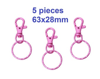 5 pcs. Pink Lobster Swivel Clasp and Key Ring - 63x28mm (2.5 inch)