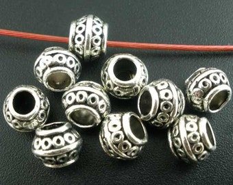 20pcs. Antique Silver Metal Tibetan Round Pot Spacer Beads- 8x6mm