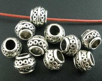 20pcs. Antique Silver Metal Tibetan Round Pot Spacer Beads- 8x6mm