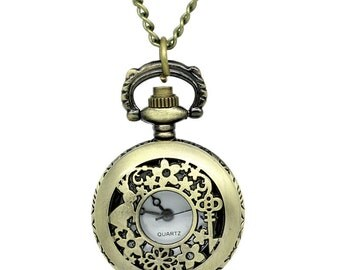1pc. Antique Bronze Necklace with Rabbit  Filigree Pocket Watch Charm Pendant - 33.5 in - 85cm