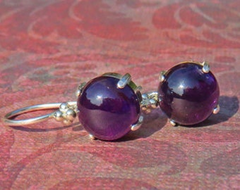 Amethyst Earrings - Deep Purple Amethyst Dangle Earrings - Argentium Sterling Silver & Sterling Silver Earrings