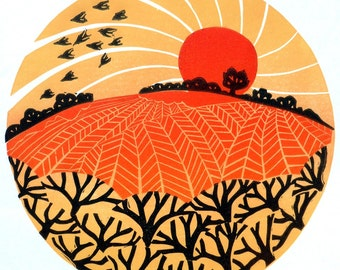 HEDGES, FIELDS and BIRDS lino print landscape hills sunset