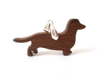 Dachshund Dog Necklace Walnut Wooden Dog Pendant Jewelry Hand Cut Pendant Scroll Saw